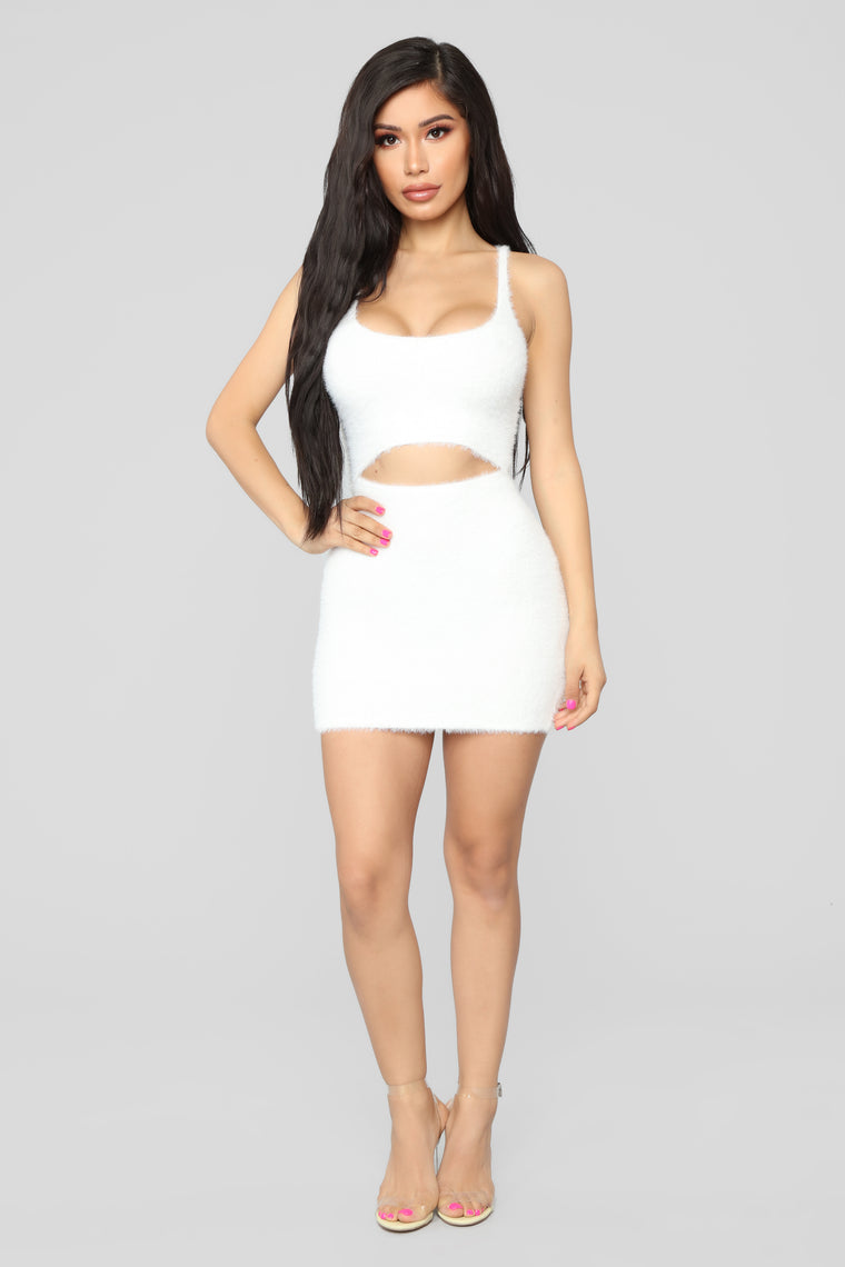 Cut To The Chase Fuzzy Dress - White