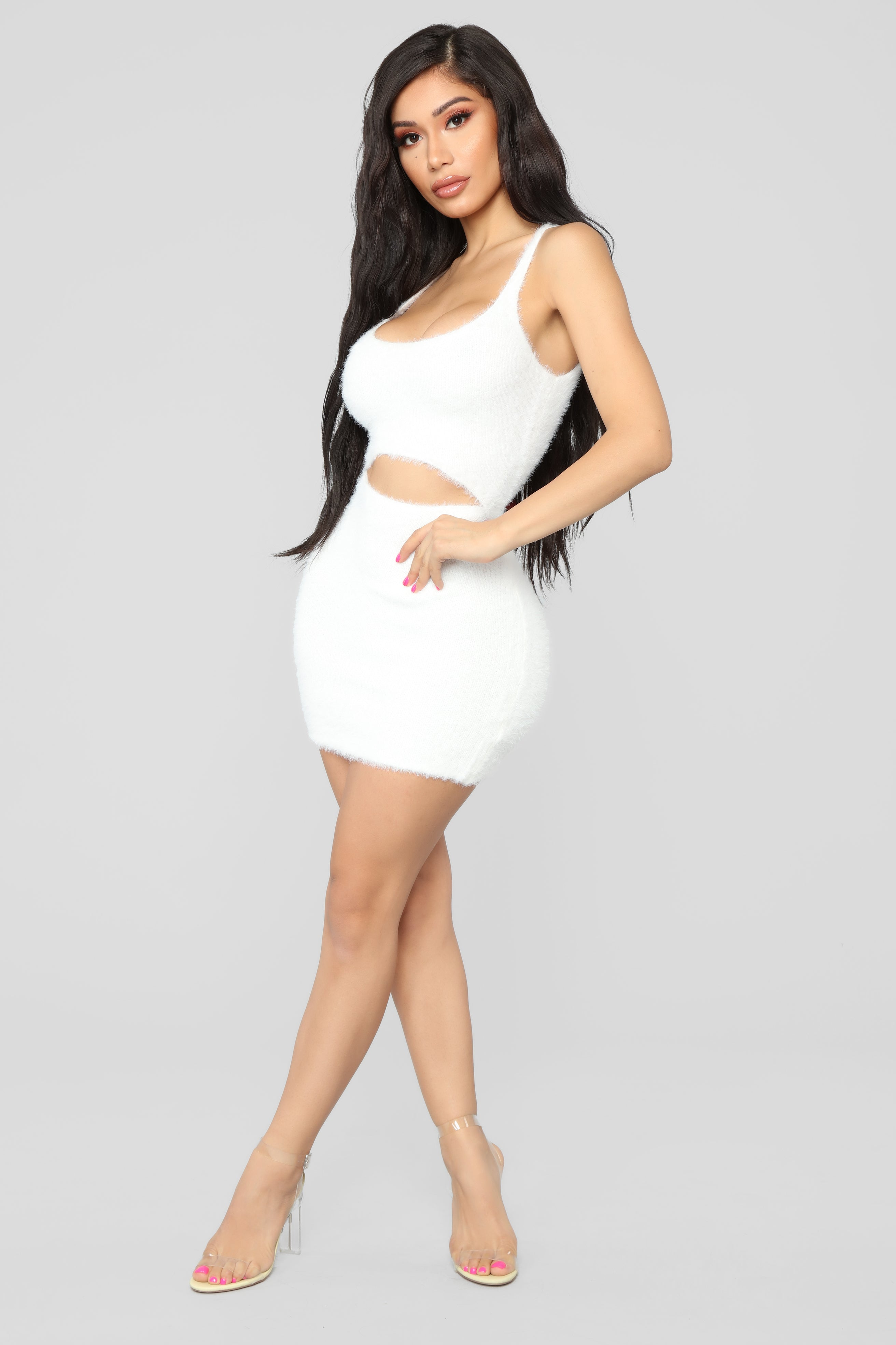 6a9faa208d Cut To The Chase Fuzzy Dress - White