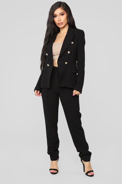 The Carlton Blazer Set - Black