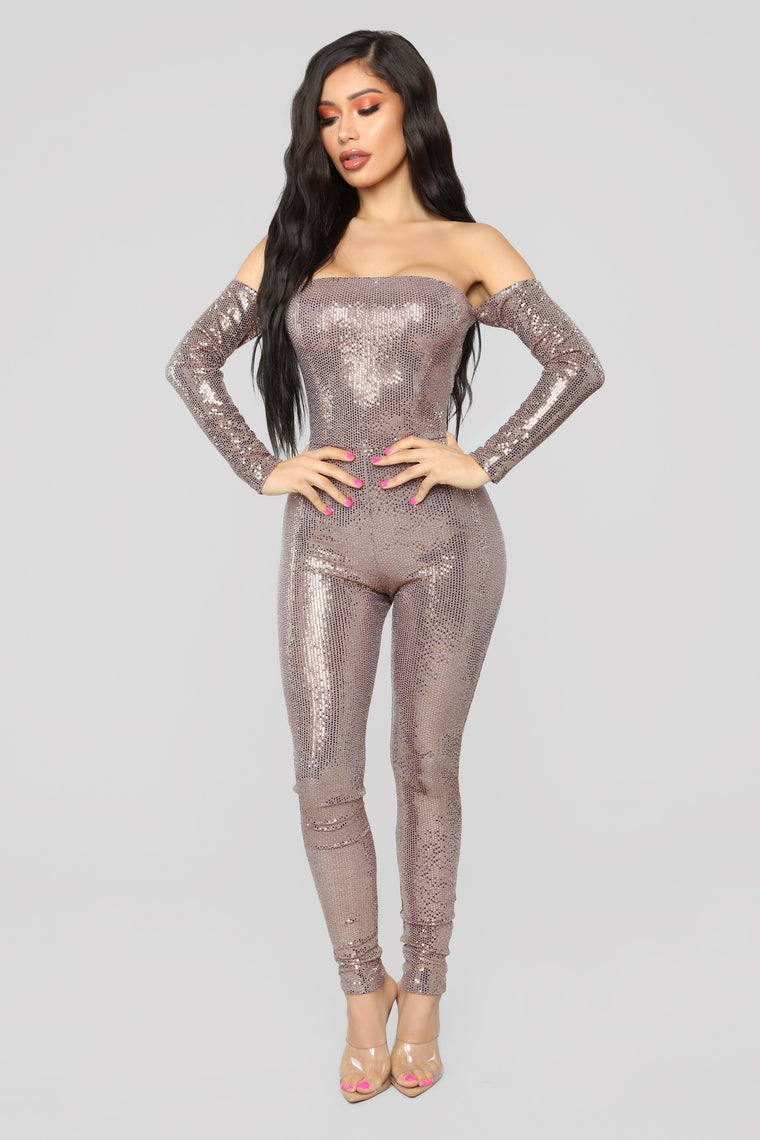 Here To Have Fun Metallic Jumpsuit   Rose Gold by Fashion Nova