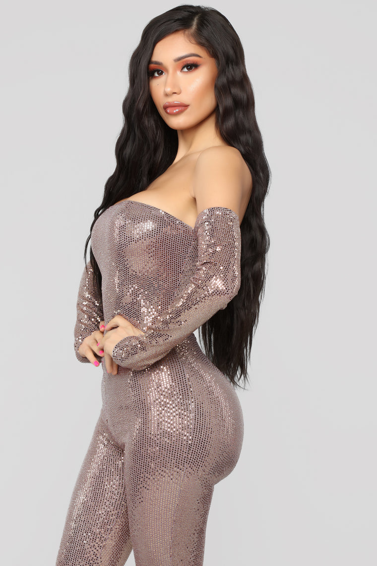 Here To Have Fun Metallic Jumpsuit - Rose Gold