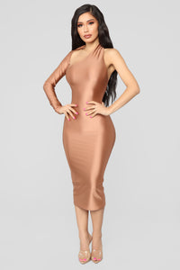 The Love I Gave You One Shoulder Dress - Dark Mauve Angle 1