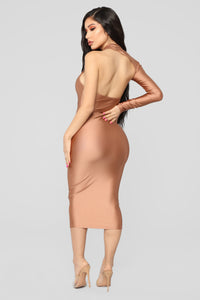 The Love I Gave You One Shoulder Dress - Dark Mauve Angle 5