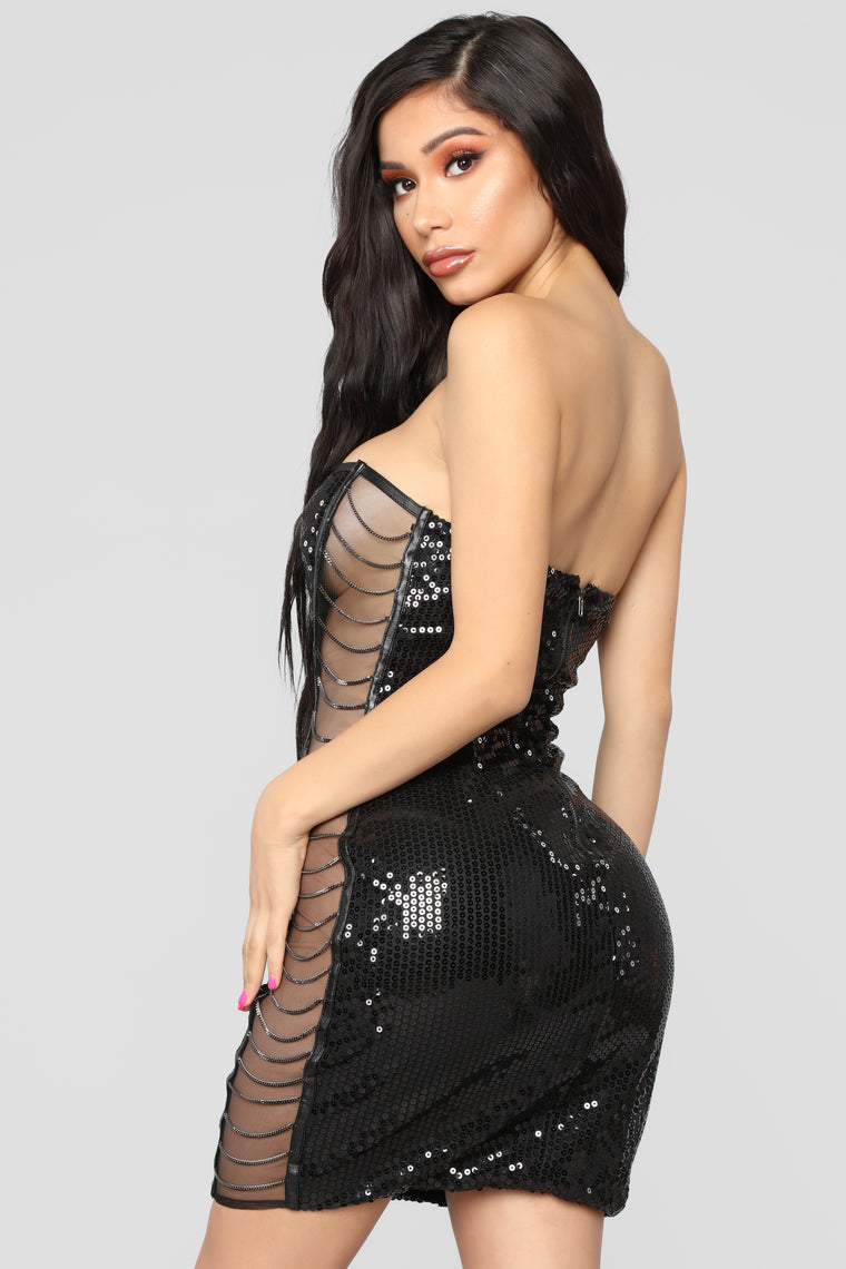 Get Over You Sequin Dress - Black
