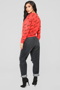 Baller Shot Caller Sweater - Red