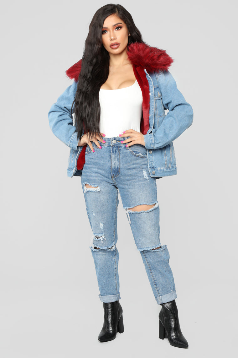 Foxy Fur Denim Jacket - Denim/Red
