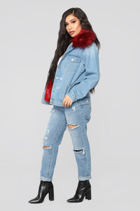 Foxy Fur Denim Jacket - Denim/Red Angle 4