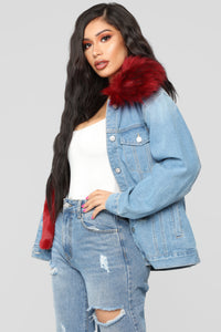 Foxy Fur Denim Jacket - Denim/Red Angle 3