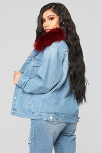 Foxy Fur Denim Jacket - Denim/Red Angle 5