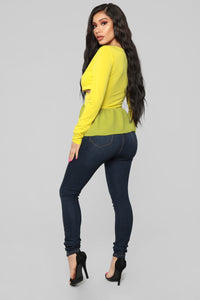 Deep Down Peplum Top - Yellow