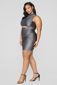 A Cut Above The Rest Mini Dress - Charcoal Angle 7