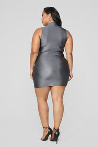 A Cut Above The Rest Mini Dress - Charcoal Angle 8