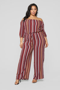 Heart On The Line Off Shoulder Jumpsuit - Burgundy