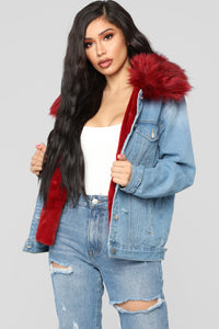 Foxy Fur Denim Jacket - Denim/Red Angle 1