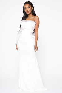 Ruffling Around Maxi Gown - Ivory Angle 1
