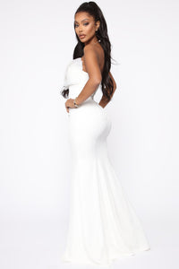 Ruffling Around Maxi Gown - Ivory Angle 3