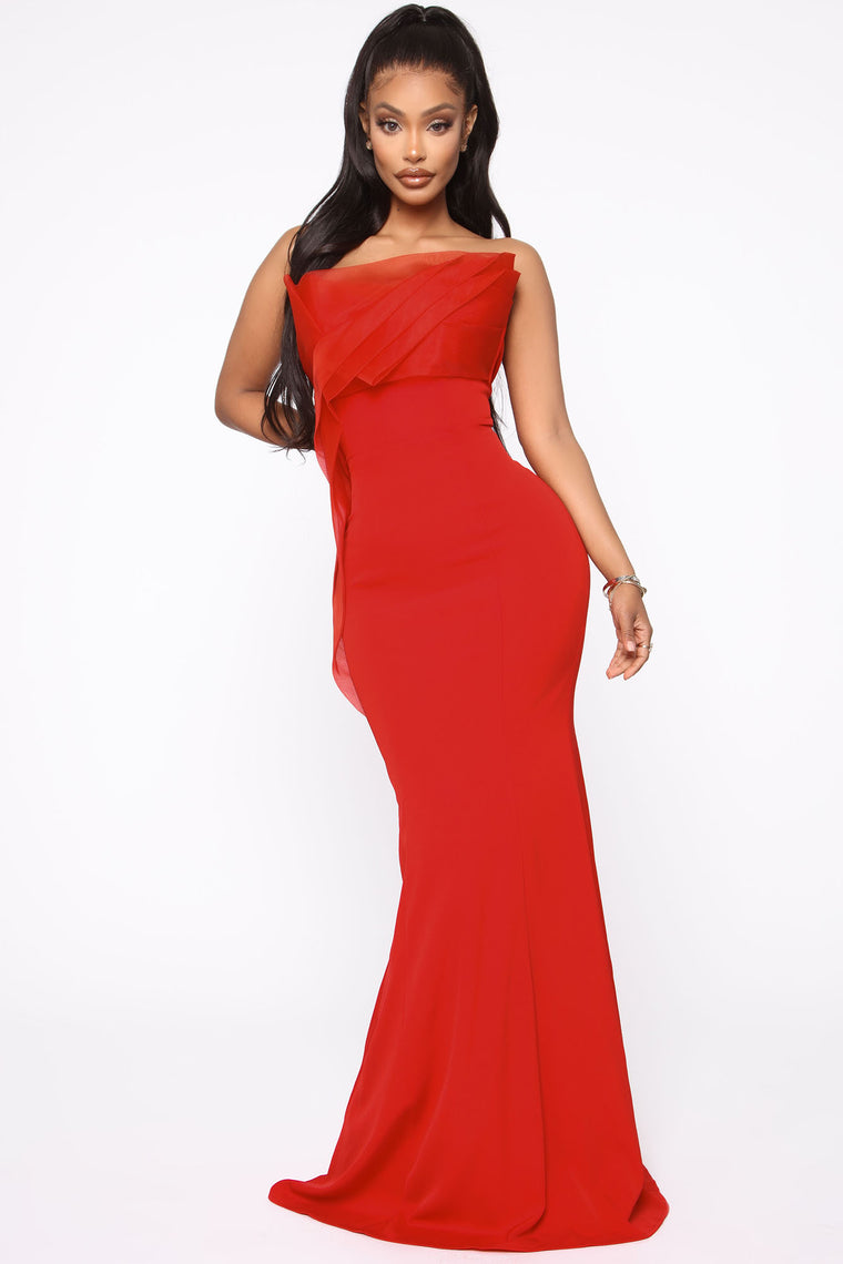 Ruffling Around Maxi Gown   Red by Fashion Nova