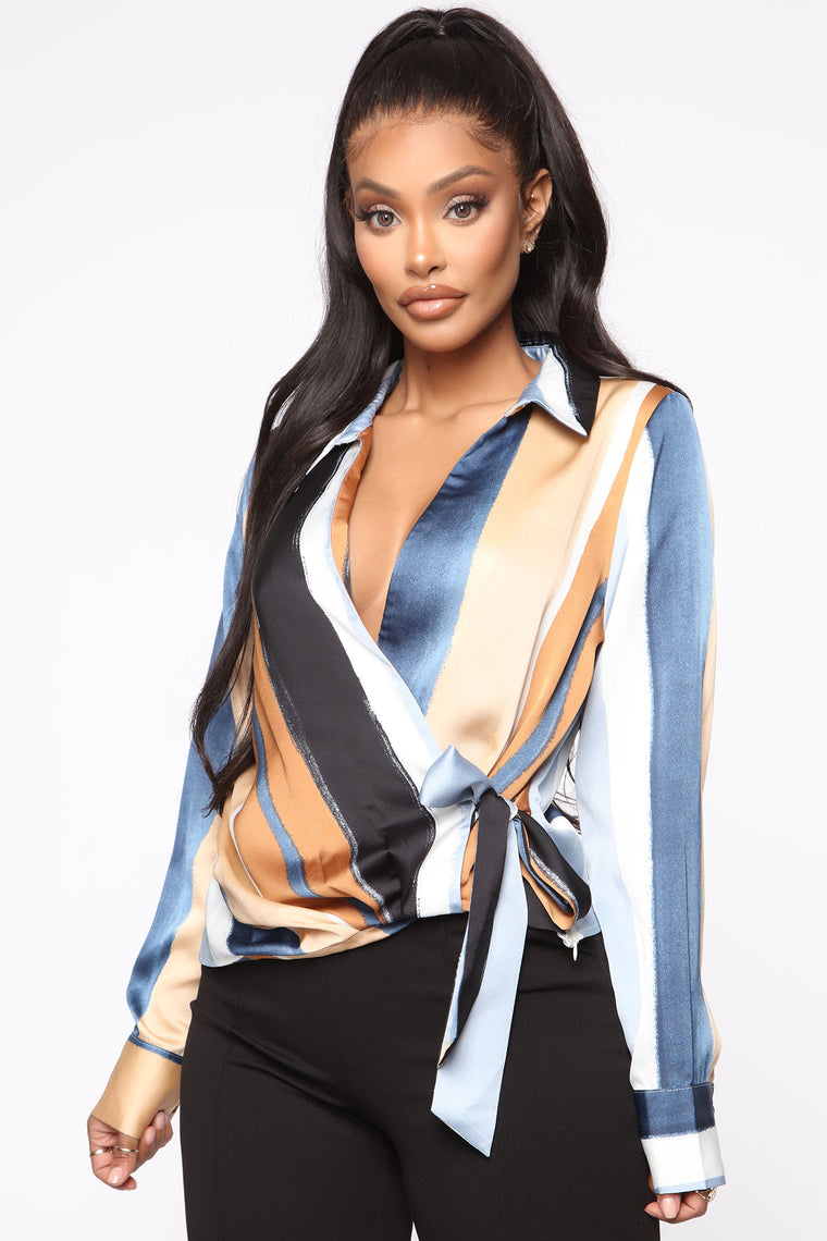 Staying Late Wrap Top   Camel/Combo by Fashion Nova