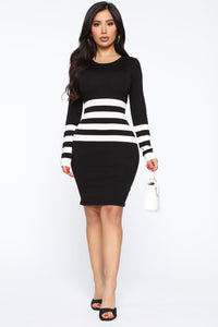 Cheer Up Buttercup Sweater Mini Dress - Black/White