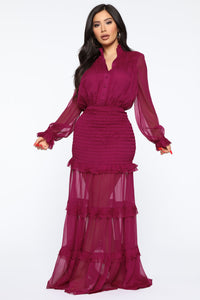 Home Town Smocked Maxi Dress - Plum