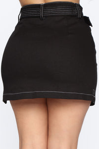 Stop Playin' Contrast Skirt - Black