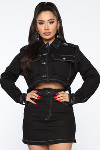 Stop Playin' Contrast Jacket - Black Angle 1