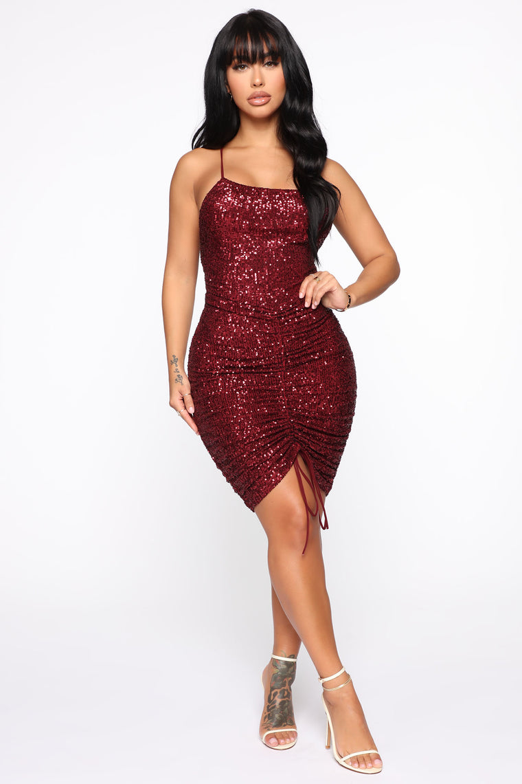 misbehaving-sequin-mini-dress---wine by fashion-nova