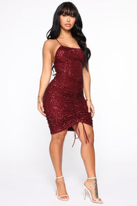 Misbehaving Sequin Mini Dress - Wine