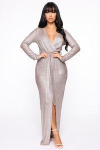 Taking You With Me Maxi Dress - Taupe/Silver