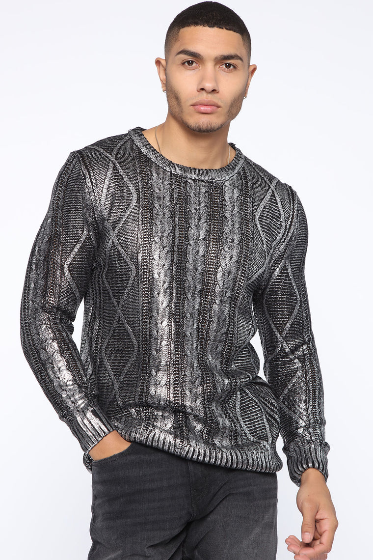 Serge Sweater   Black/Silver by Fashion Nova