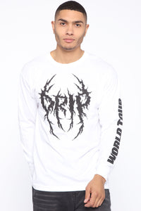 Drip World Tour Long Sleeve Tee - White/Black