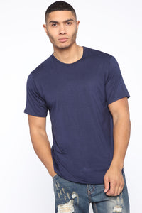 Essential Longline Scoop Tee - Navy Angle 1