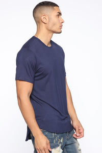 Essential Longline Scoop Tee - Navy Angle 3