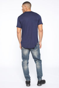 Essential Longline Scoop Tee - Navy Angle 5