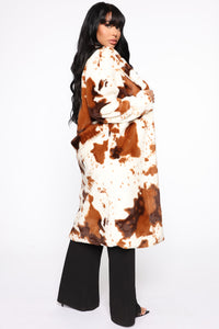 It's Cow Or Never Faux Fur Coat - Brown