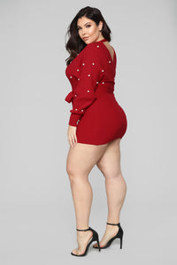 Wrap Me In Pearls Dress - Red