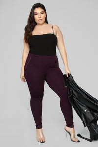 Jossie Stretch Moto Pants - Plum Angle 7