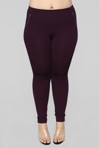 Jossie Stretch Moto Pants - Plum Angle 8