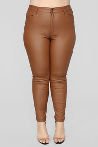 Double Dare Faux Leather Pants - Camel