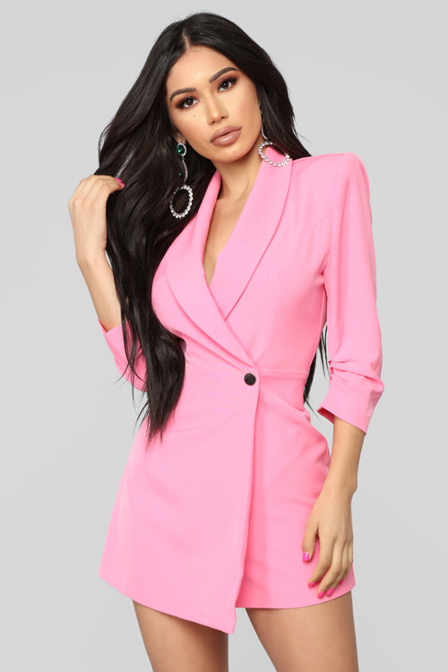 Invading Your Privacy Blazer Romper - Pink