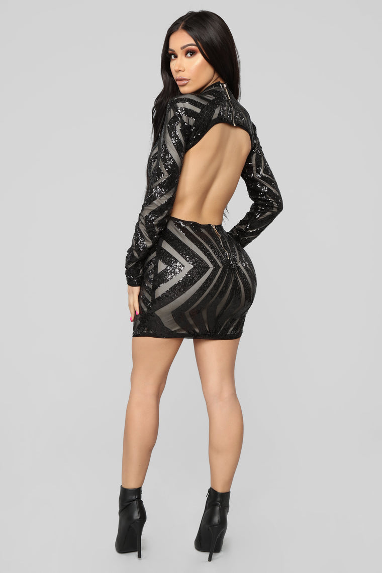 A Night In Italy Sequin Dress - Black