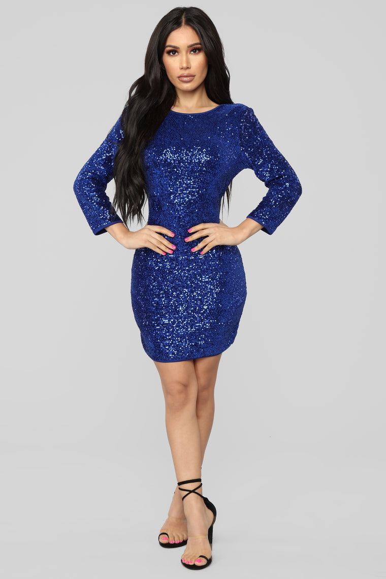 Perfect Party Sequin Dress - Royal