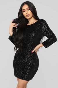 Perfect Party Sequin Dress - Black