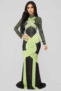 Stay In The Loop Rhinestone Neon Dress - Black/Green