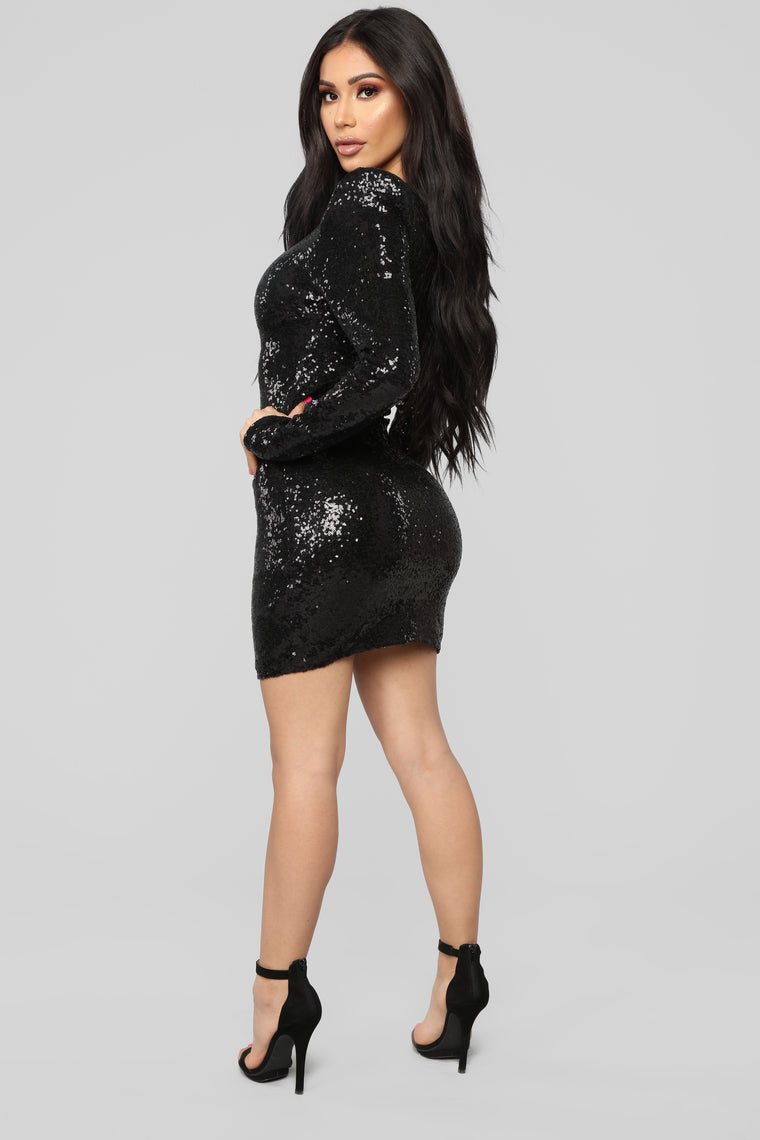 Here To Shine Sequin Dress - Black