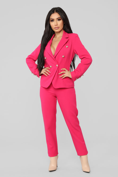 The Carlton Blazer Set - Fuchsia