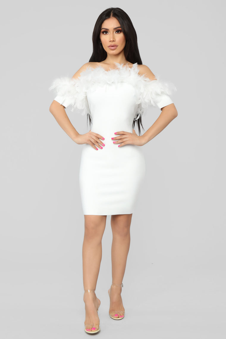 Feathers And Frills Mini Dress - White