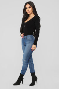 Kristina Long Sleeve Bodysuit - Black