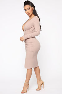 Candy Girl Midi Dress - Taupe