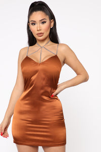 Chained Up Satin Mini Dress - Bronze
